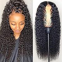 レースフロント人間の髪の毛のかつら黒人女性のための波状合成24インチ長い変態カーリーウィッグ130%密度のかつら(ブラックカラー)