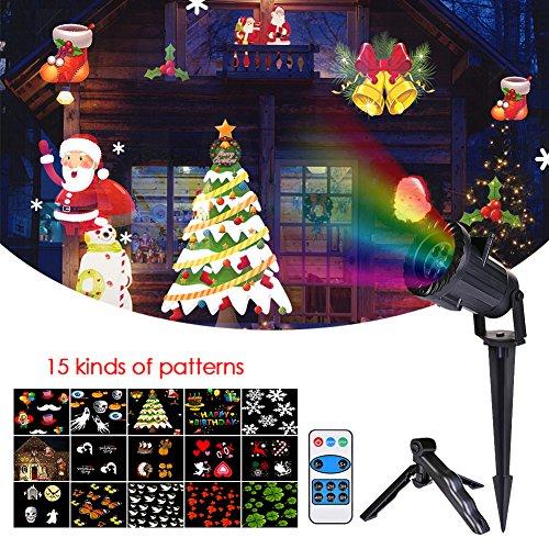 LianLe LED Projecteur de 15 Motifs Lumière de Jardin RF Télécommande sans Fil Lampe Décorative Eclairage Etanche de IP65 pour Décoration de Halloween Noël Party Projector Light