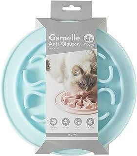 inooko - Gamelle Anti-glouton pour Chat, Antidérapante, Bleu Pastel, 250 ml