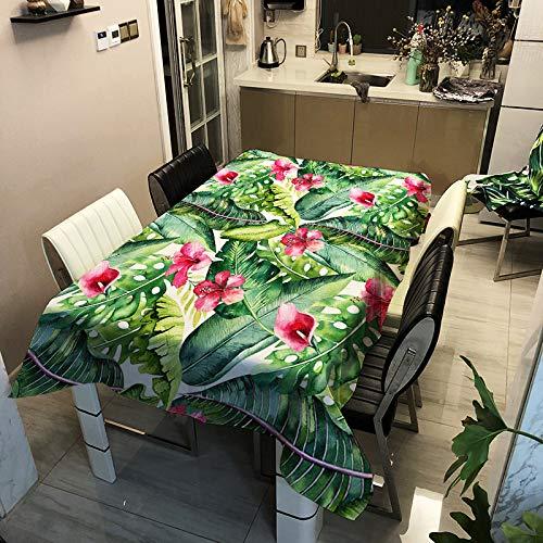 SHJIA Mantel De Poliéster Impermeable Minimalista Moderno Plantas Verdes Y Mantel De Mesa con Estampado De Pájaros Mantel De Mesa De Centro Rectangular