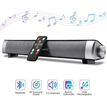 Soundbar,Wired Wireless Bluetooth Audio Sound bar,15.7inch Speaker, 2 X 5W Compact Sound Bar 2.0 Channel for Cell Phone//Tablet//Projector and Support TV with AUX//RCA Output