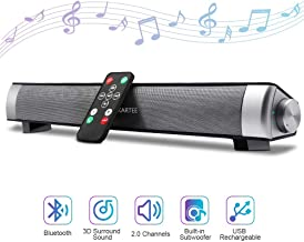 Bluetooth Sound Bar 15.7 Inches Portable Wireless Speakers for Home Theater Surround Sound with Built-in Subwoofers for TV/PC/Phones/Tablets with Remote Control