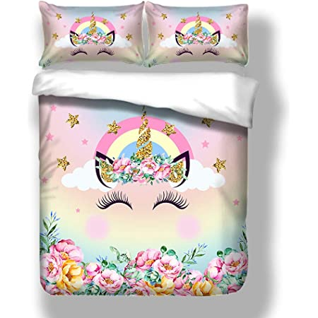 Loveast Girls Unicorn Duvet Cover Set Super Soft Microfiber Cute Cartoon Unicorn Printing Kids Bedding Set 3Piece Including 1 Duvet Cover,2Pillowcases Full Size