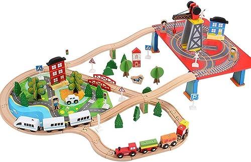 solo cómpralo SXPC Los Niños educativos de Madera DIY DIY DIY montaron la Pista de Tren pequeño Juego de Regalo de Juguete (88 Piezas)  El ultimo 2018