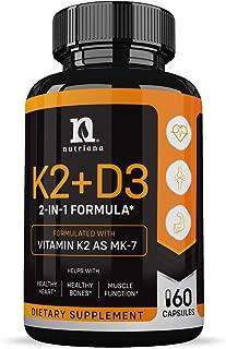 Vitamin K2 with D3 5000 IU Supplement – Vitamin D and K Complex – Bone and Heart Health Vitamin D3 K2 MK7 Formula - 5000 IU Vitamin D3 & 90 MCG Vitamin K2 MK-7-60 K2 D3 Vitamin Capsules