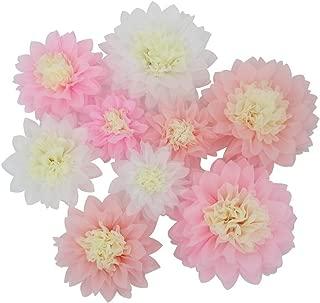 Mybbshower Pink White Paper Flower for Girl Birthday Home Living Room Decoration Pack of 9