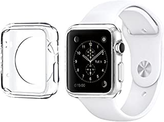 For Apple Watch Case 38mm CaseHQ Hard Soft TPU Transparent Full Body Screen Protector 0.3mm Thin Case Apple Watch Cover For Apple Watch / Watch Sport / Watch 2015(38mm) Crystal Clear (38mm 1Pack)