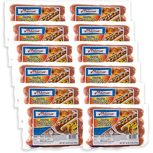 Midamar Halal Jumbo Beef Hot Links - 12, 1 lb packs