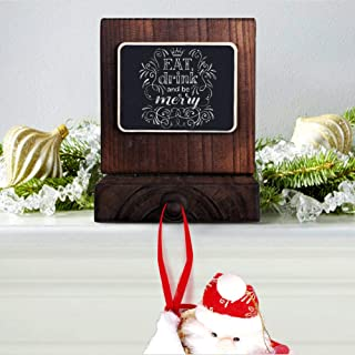 OurWarm DIY Chalkboard Christmas Stocking Hanger, Rustic Wood Stocking Holders for Fireplace Mantle Free Standing Christmas Decorations