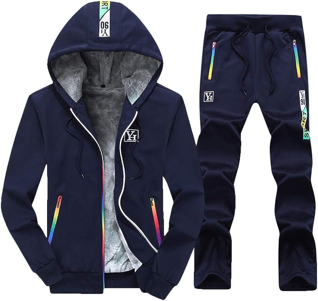 NotingBuss Men's Winter Thicken Fleece Sherpa Lined Zipper Hoodie Sweatshirt Jacket Pants Sets