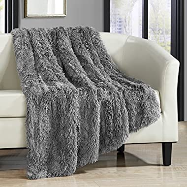 Chic Home Elana Shaggy Faux Fur Supersoft Ultra Plush Decorative Throw Blanket, 50 x 60, Silver