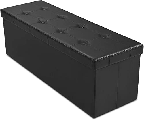 """discount Giantex 45"""" Folding Storage lowest Ottoman Bench, Storage Chest to Support 660lbs, 165L Storage Trunk Footrest Padded discount Seat Coffee Table for Bedroom Hallway, Faux Leather, Black outlet online sale"""
