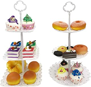 FEOOWV 3-Tier Plastic Candy Dessert Patter Stands Set for Home Tea Party,Wedding,Baby Shower (B-2Pcs Small)