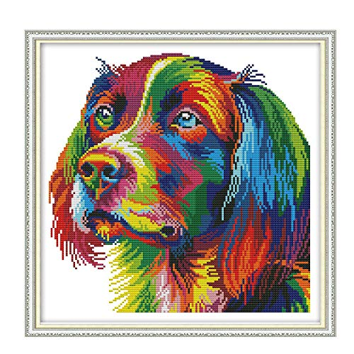 Printed Cross Stitch Kits 11CT 17X17 inch 100% Cotton Holiday Gift DIY Embroidery Starter Kits Easy Patterns Embroidery for Girls Crafts DMC Stamped Cross-Stitch Supplies Needlework Rainbow Dog