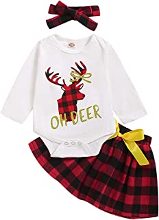 YOUNGER STAR Toddler Skirts Outfits Baby Girls Button Down Plaid Flannel T-Shirt + Sweet Tutu Skirt 2Pcs Dress Set