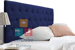 H-Cube meble wyściełane łóżko Divan zagłówek Turyn montowany na ścianie (granatowe - pasujące guziki 12 cm King Size - 20)