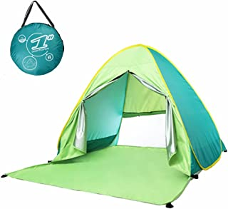 Beach Tent Pop Up Sun Shelter Shade Camping Tents 2 or 3 Person 6 Pegs UV Protection Lightweight Outdoor Play Tents for Babies Children, Portable fit for Outdoor Indoor Park Hiking Garden Party Festival Outfitter Picnic Touring Easy Assembly
