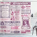 Ambesonne Old Newspaper Shower Curtain, Collage of French Advertisements for Women Ladies Nostalgic Art, Cloth Fabric Bathroom Decor Set with Hooks, 75' Long, Magenta Purple