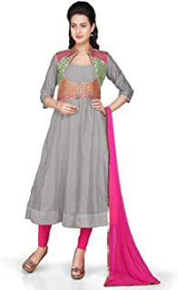 Utsav Fashion Chanderi Anarkali Suit in Grey With Gota Patti Jacket