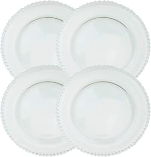 Clear Glass Charger 12.6 Inch Dinner Plate With Beaded Rim - Set of 4 - Clear