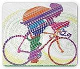 Modernes Mauspad, Skizze Hand gezeichnetes Bild eines Radfahrers auf Fahrrad Sonnengras Artwork Print, Rechteck rutschfestes Gummi-Mauspad, Standardgröße, Standardgröße,20x25cm