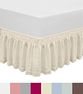 QSY Home Wrap Around Elastic Eyelet Bed Skirts Dust Ruffle Three Fabric Sides Easy On/Easy Off Adjustable Polyester Cotton 14 1/2 Inches Drop(Beige Twin/Full)