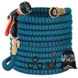 Gpeng Garden Hose 50ft Water Hose with 8 Function Nozzle and Durable 4-Layers Latex Core , Lightweight Expandable Hose for Garden Washing, No-Kink Flexible Collapsible Retractable Hoses