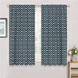 Blackout Window Curtains Geometric Floral Pattern Dark Tones Plant Nature Inspired Blossoming Spring Flowers Print Sliding Curtains for Patio Decor W54 x L39 Inch Blue Cream Black