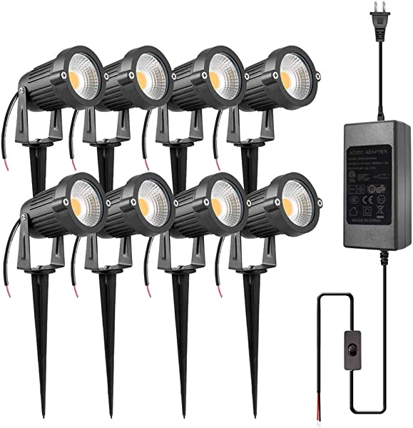 ZUCKEO 5W LED Landscape Lights With Transformer 12V 24V Waterproof Garden Pathway Lights Warm White Walls Trees Flags Outdoor Spotlights With Spike Stand 8 Pack With Transformer