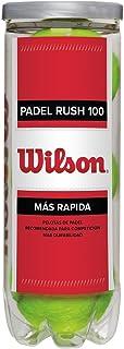 Wilson Padel Rush 100 Pelotas de pádel, pack de 3, para superficies artificiales (Omni Court), Unisex, Amarillo