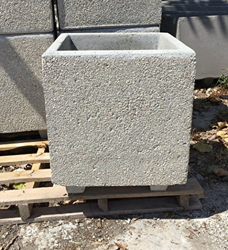 ARTISTICA GRANILLO FIORIERA in Cemento,Vaso, INERTI A Vista 40X40 H50 CM.