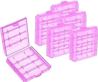 com-four Caja de batería de plástico 6X - Caja de Almacenamiento para baterías y baterías Recargables - Caja de batería para AA y AAA (06 Piezas - Púrpura)