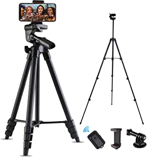 """Ibeston Cell Phone Tripod, 53"""" Extendable Phone Tripod, Lightweight Travel Tripod with Bluetooth Remote Shutter, Portable ..."""