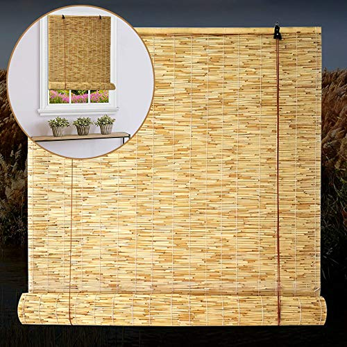 F-XW Estor de Bambú, Persiana Enrollable a Medida, Persianas Venecianas para Stores, en la Cocina o Baño (Color de Color Natural - 145 x 135cm)