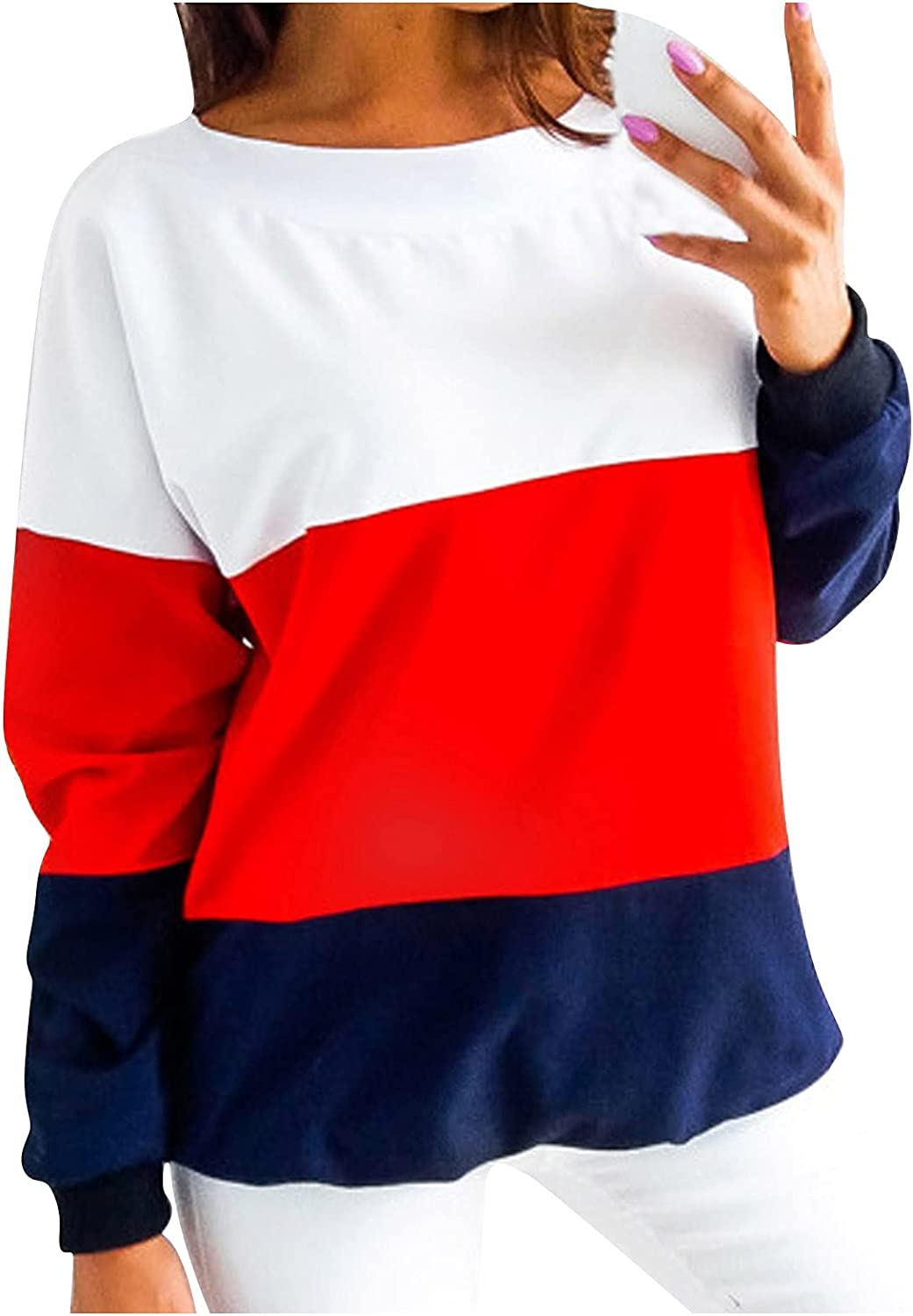 Women's Casual Crewneck Patchwork Sweatshirt Fashion Loose Fit Long Sleeve Oversize Color Block Pullover Tunic Tops