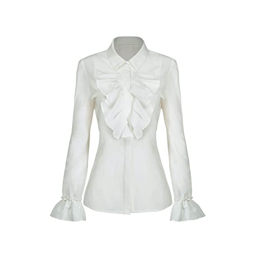 0170fbf40ab Choies Women's Vintage White with Black Lace Stand-Up Collar Puff Long  Sleeve Shirt