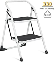 Delxo 2 Step Ladder Portable Step Stool with Handgrip Anti-Slip and Wide Pedal Sturdy Steel Ladder Multi-Use for Home,Garden and Office Provide The Extra Height to Reach Up High Place 330lbs (2 feet)