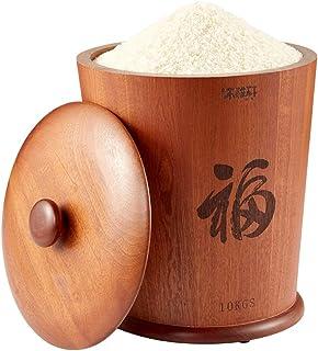 Pots et bocaux de conservation Baril de riz scellé en bois massif Réservoir de stockage résistant aux insectes et à l'humi...