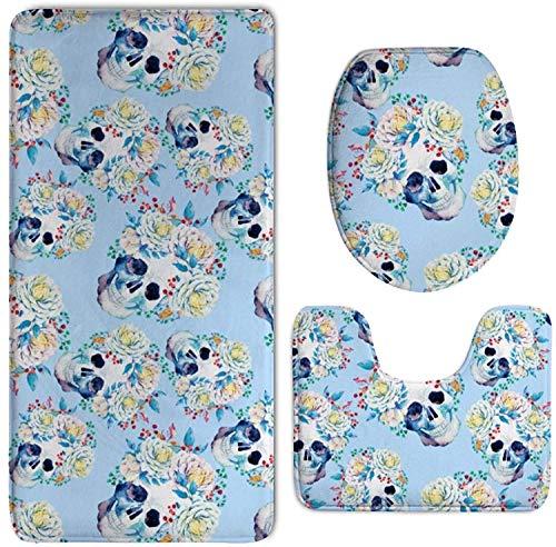 40x60cm 3pcs Alfombra Ducha Almohadilla Flores Floral Azúcar Calaveras Azul Cielo Absorbentes Protector Antideslizante Impermeable Estera