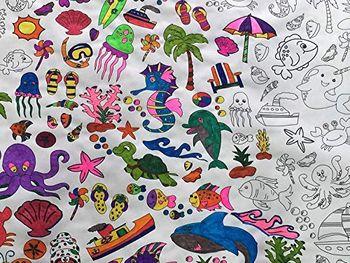The Coloring Table - Colorable Oceantime Fun Tablecloth - Square