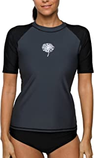 41ffa8ab83 V FOR CITY Women's Short Sleeve Rashguard Athletic UPF 50+ Printed  Swimsuits Rash Guard Swimwear