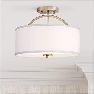 """برنجی مدرن ، سقف روشن و خاموش مدرن ، برنجی گرم ، لامپ 15 """"گسترده ای از درام کتانی سفید برای اتاق خواب اتاق آشپزخانه اتاق خواب حمام راهرو - طراحی یورو Possini"""