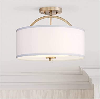 "Halsted Modern Ceiling Light Semi Flush Mount Fixture Warm Brass 15"" Wide White Linen Drum Shade for Bedroom Kitchen Living R"