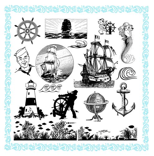 Sailship Ocean Addicted // Clear stamps pack (7'x7') FLONZ
