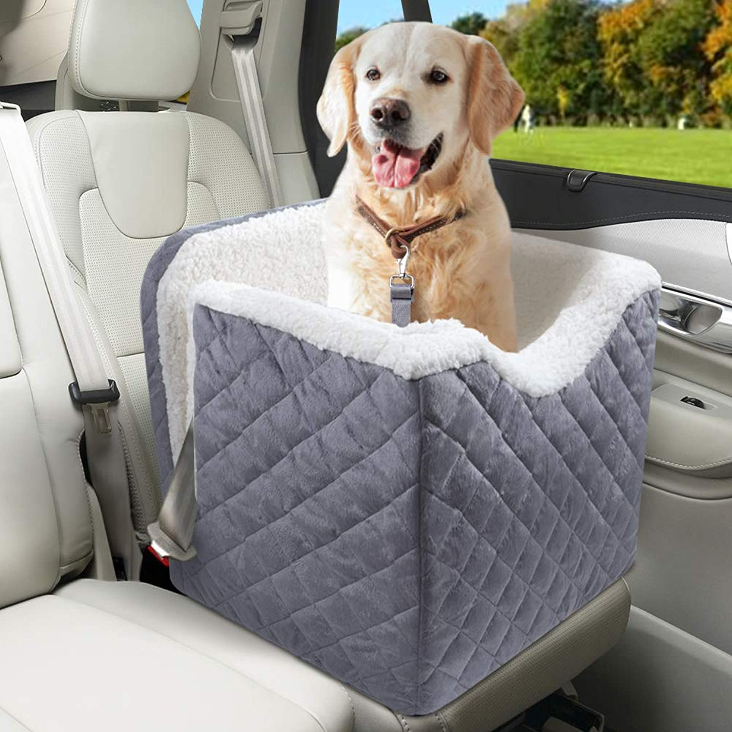 """BEAU JARDIN Dog Car Seat Raised Dog Booster Car Seats for Vehicles with 6"""" High Elevated Padded Seat Pet Car Seat Safety Car Seat for Dogs with Safety Harness for Medium and Large Dogs Travel Carrier"""