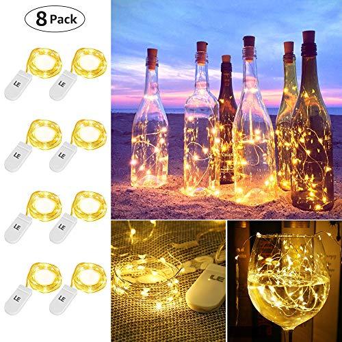LE LED Lichterkette Batterie 1.2M, 8er 20LEDs Lichterketten aus Kupferdraht, IP65 Wasserdicht Drahtlichterkette für Weihnachten, Party, Innen, Außen, Hochzeit Deko, Warmweiß Weihnachtsbeleuchtung