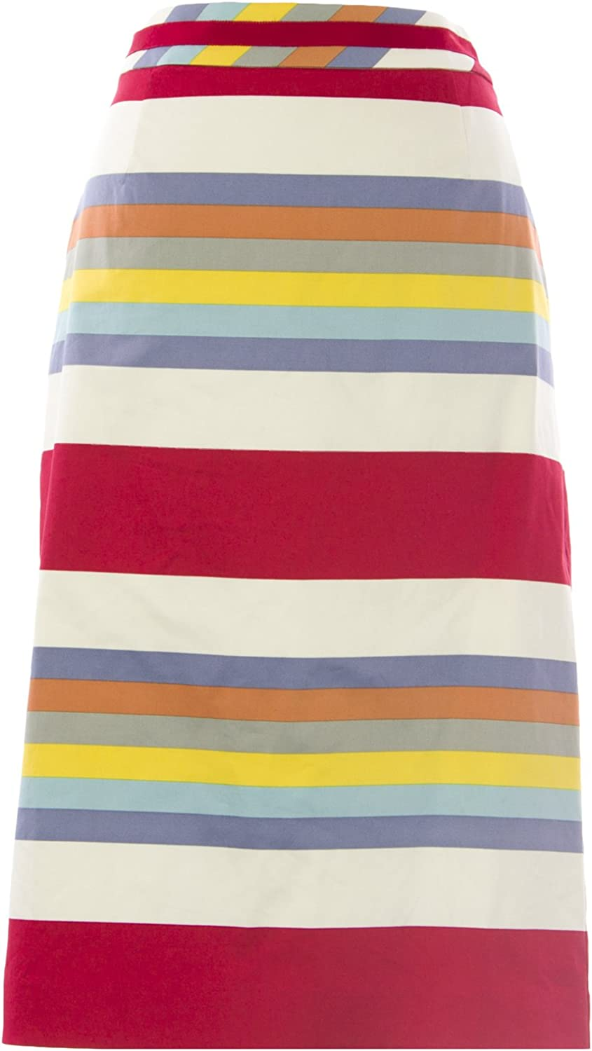 BODEN Women's Striped Modern Pencil Skirt Red Multicolord