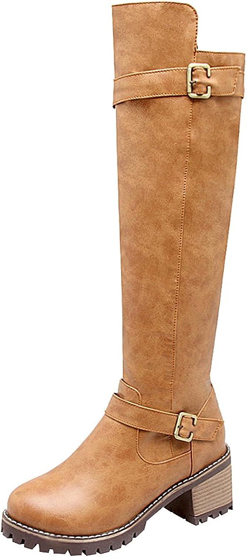 Jamron Women's Western Chunky Block Heel PU Leather Knee High Riding Boots Winter Warm Lining Zip Boots