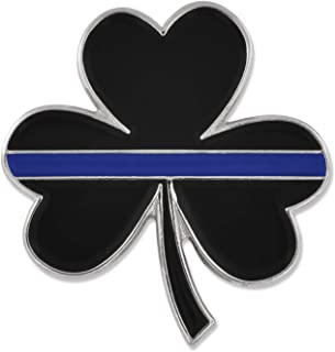 Thin Blue Line St. Patrick's Day Shamrock 3 Leaf Clover Lapel Pin