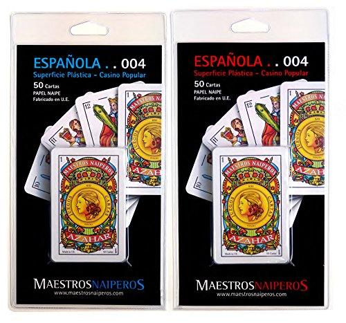 Maestros Naiperos- baraja española, 50, Cartas, Blister, Calidad Casino Popular, Color Azul y Rojo (130003041)